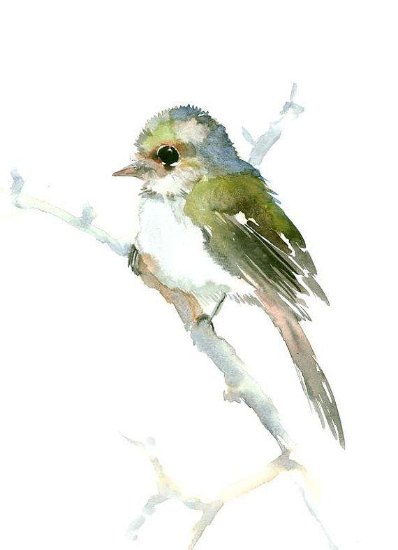 Flycatcher olive green bird art bird lover by ORIGINALONLY on Etsy