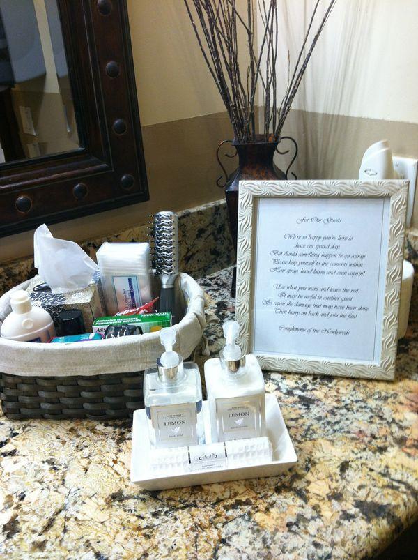 Best 20 wedding toiletry basket ideas on pinterest for Wedding reception bathroom ideas
