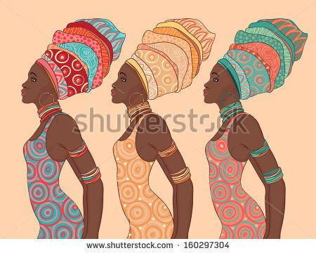 stock-vector-pretty-african-american-woman-in-traditional-turban-profile-view-160297304.jpg (450×360)
