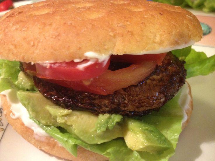 vegan sandwich idea: not meaty, meaty grilled portobello sandwich with ...