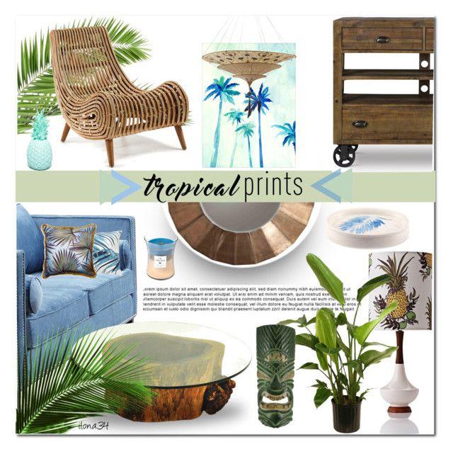 """tropical living room"" by ilona2010 ❤ liked on Polyvore featuring interior, interiors, interior design, home, home decor, interior decorating, Dot & Bo, Arteriors, Williams-Sonoma and Madura"