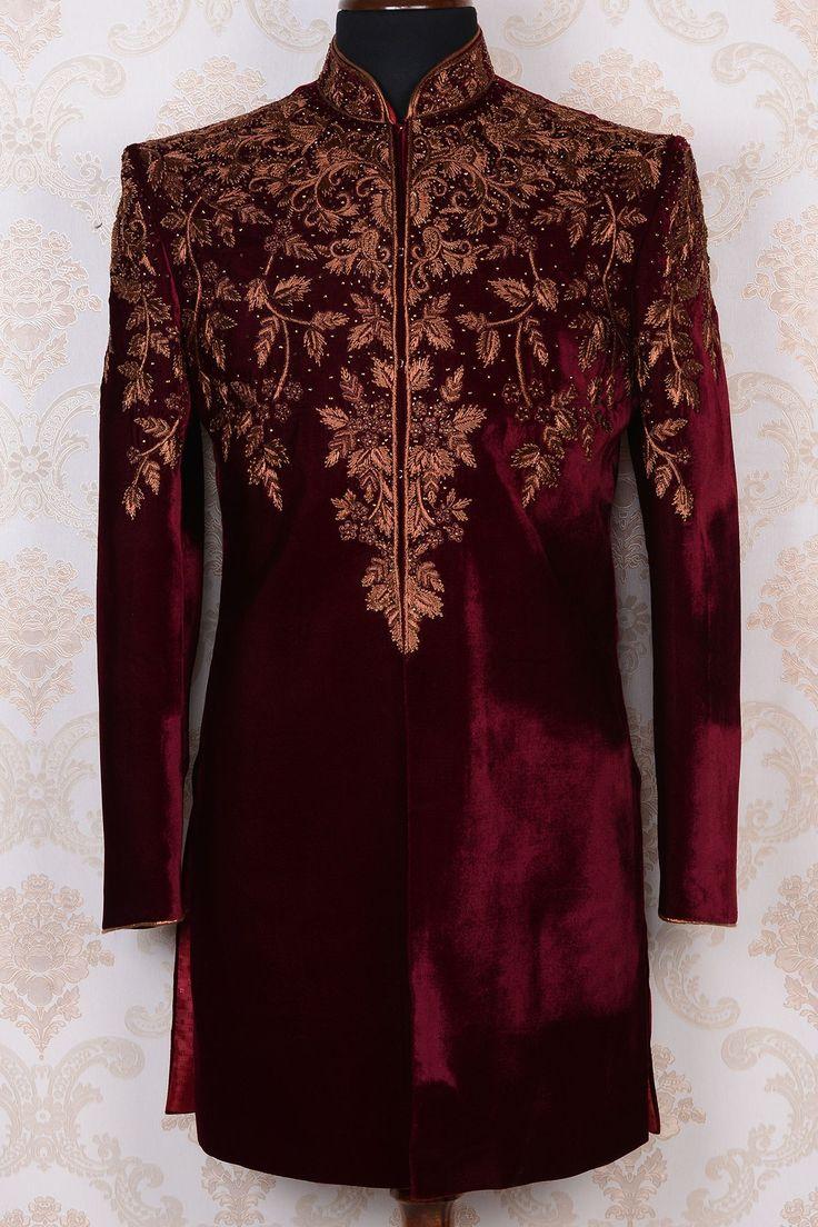 Purple & antique gold pure velvet rich indo western sherwani-IW395 - IndoWestern Sherwani/Achkans - Sherwani - Men's Wear
