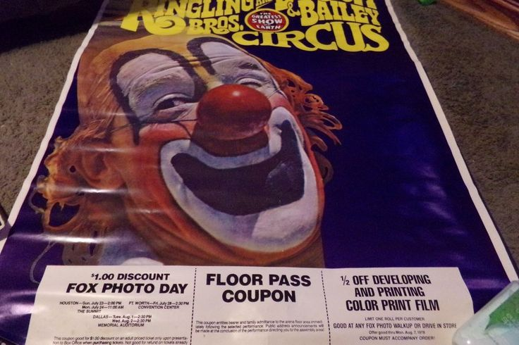 Vintage Ringling Brothers & Barnum Bailey Circus Poster Clown 1975 w Coupons