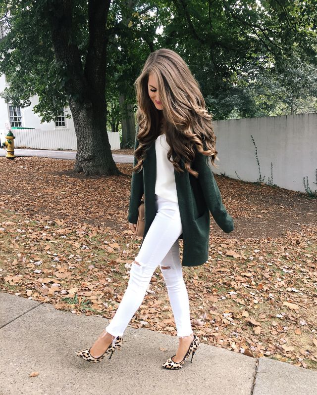 white on white + colorful cardigan and shoes for fall