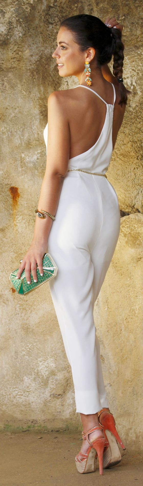 White Sunny Jumpsuit, green purse. Street summer elegant women fashion outfit clothing style apparel @roressclothes closet ideas