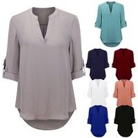Wish | Sexy Women Fashion Casual Long Sleeve V Neck Solid Color Chiffon Blouse Ladies Loose Plus Size Tops