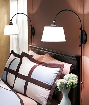 My parents did this in their bedroom in their old house & I'd like to do something like this too when we do our room. At least one on my side We had this once too...  Better than knocking over lamps at night reaching for something on bedside table