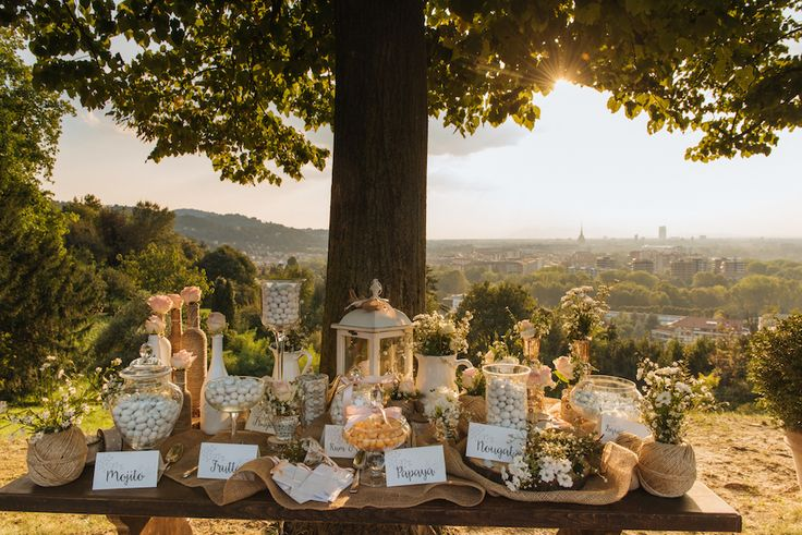rustic sweet table with a view