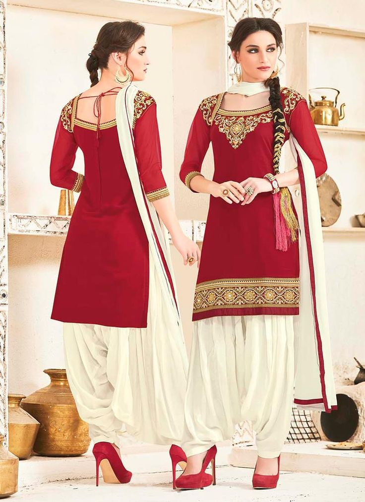 Entrancing Resham Work Georgette Red Designer Patiala Salwar Kameez