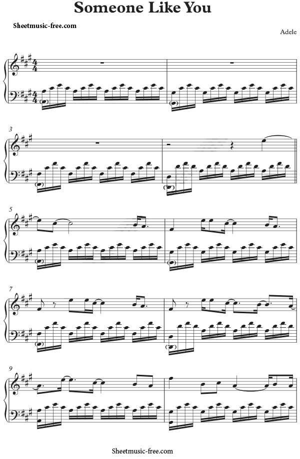 Someone Like You Sheet Music Adele Sheet Music Piano Sheet