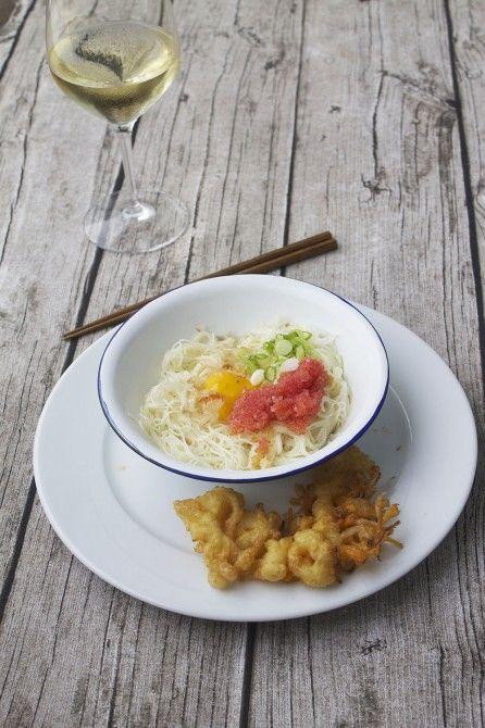Somen noodles and veggie tempura