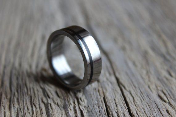 Titanium ring for men unisex titan ring with ebony wood inlay