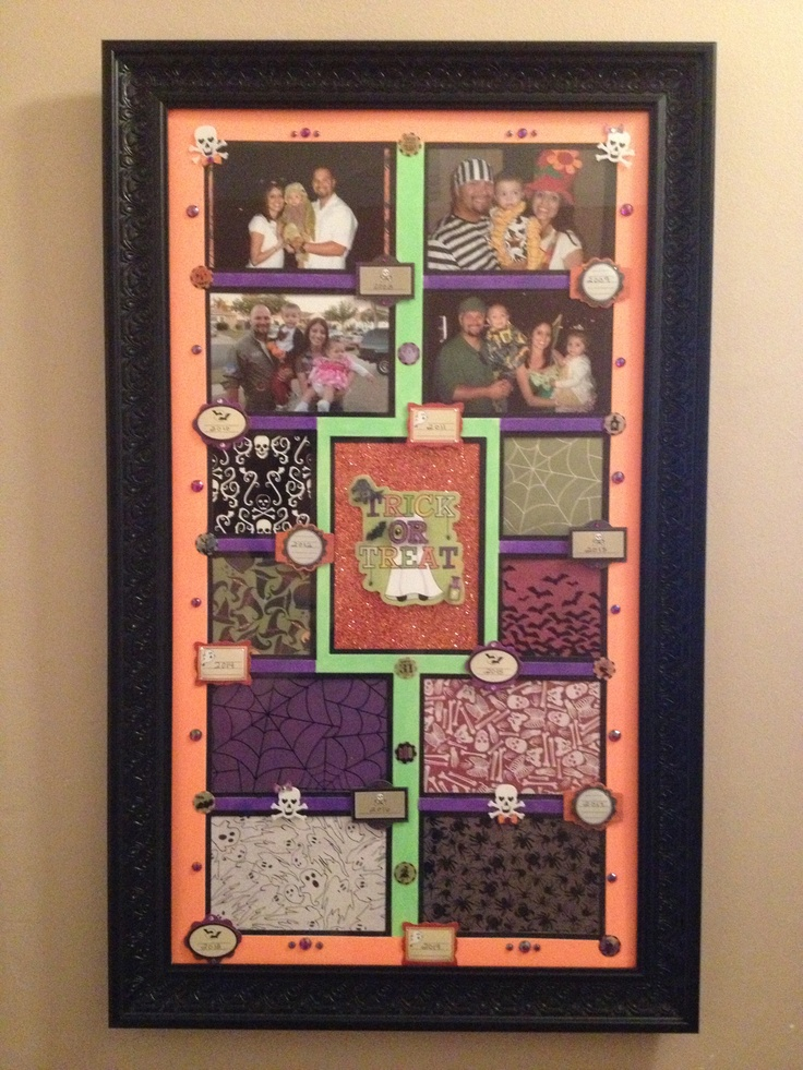 Decorated Frame to hang up every Halloween season with each years halloween picture.