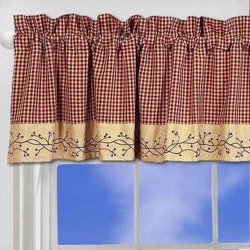 57 best images about primitive curtains on pinterest window treatments plaid and country curtains - Country kitchen curtains and valances ...