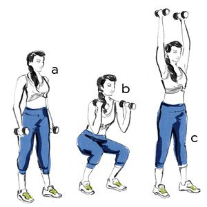 Squat With Biceps Curl to Shoulder Press | Women's Health Magazine