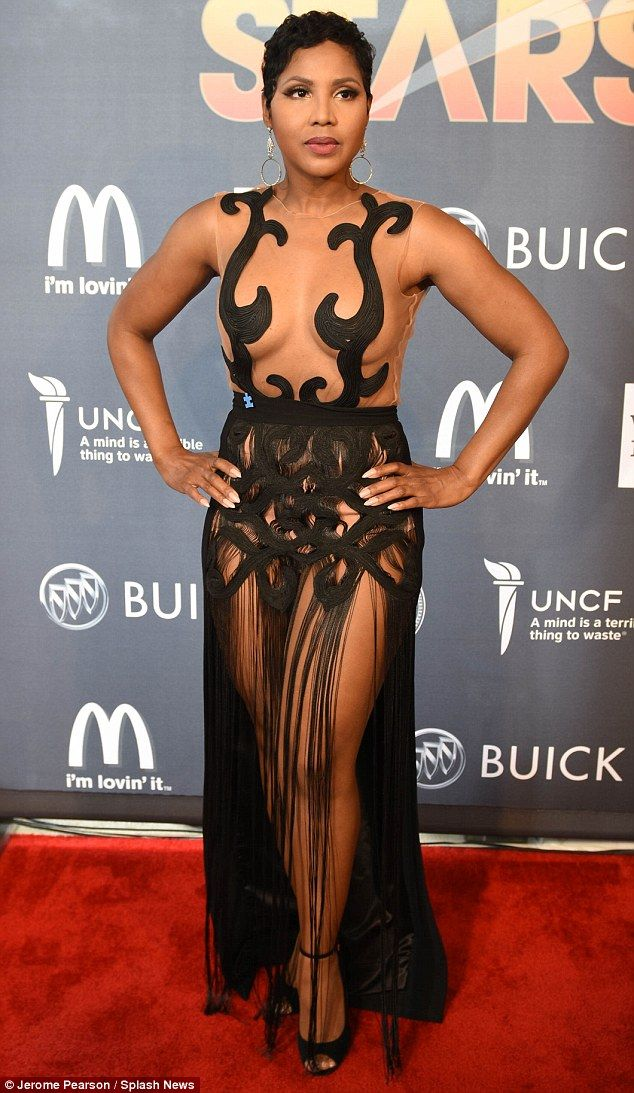 Daring to bare: Toni Braxton revealed that she has no problem showing off what she's got at the United Negro College Fund event on Sunday night