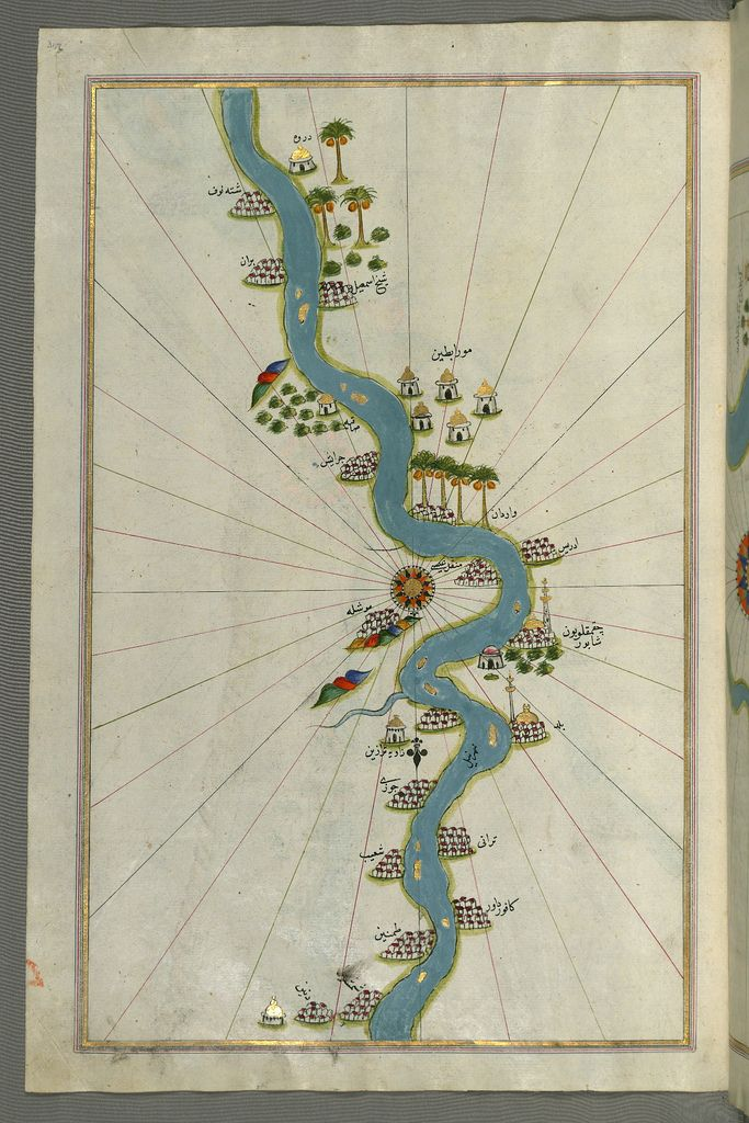 Illuminated Manuscript Map of the river Nile