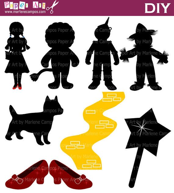 INSTANT DOWNLOAD - Wizard of OZ Silhouette Inspired Digital Clip Art Personal and Commercial.