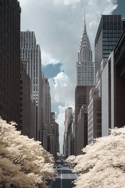 The Chrysler Building photographed in infrared along 42nd Street in...