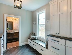 Sherwin Williams SW7030 Anew Gray Grey Mudroom Paint Color