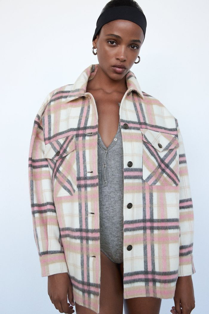 Ladies Checkered Jacket Womens Tartan Check Over Size Baggy Collared Shacket Top