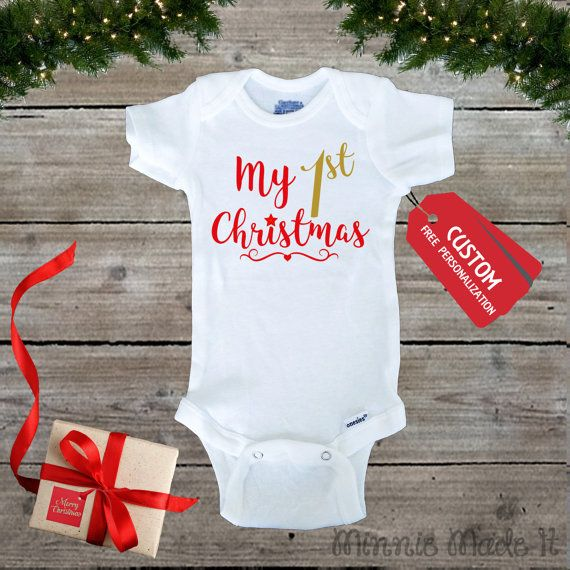 My First Christmas Baby One piece  Add baby's Name by MinnieMadeit