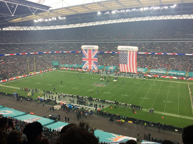 NFL London 2017 Miami Dolphins v New Orleans Saints. Pre-game flags.