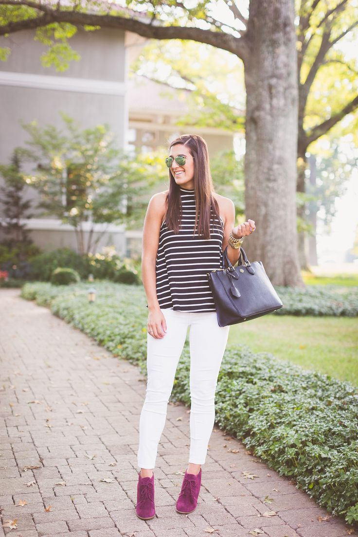stripe top, fall booties, fall outfit ideas, fall style // a southern drawl