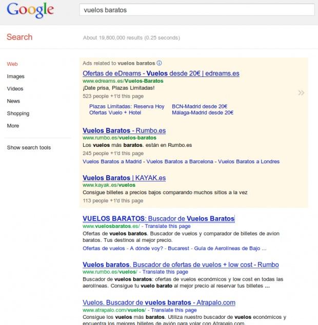 """¿Qué empresa de viajes aparece en primer lugar en buscadores al buscar """"vuelos baratos""""?"""