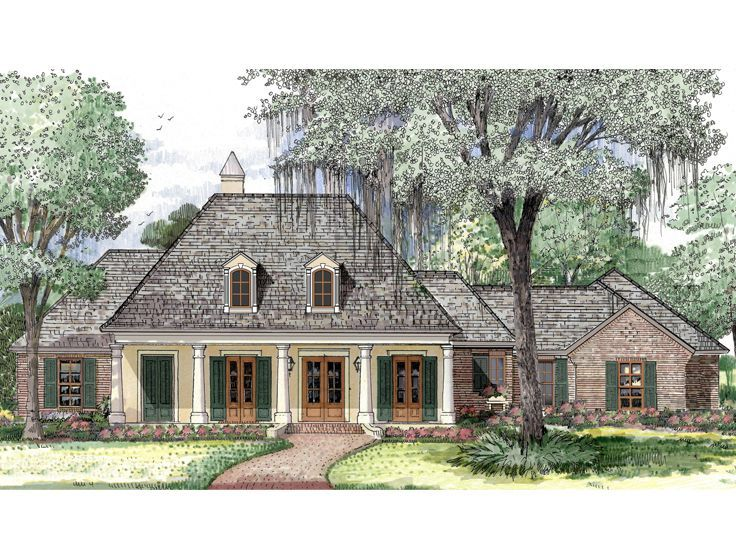 079h 0012 Classic Southern House Plan Has 4 Bedrooms 3 Baths French House Plans Acadian House Plans French Country House