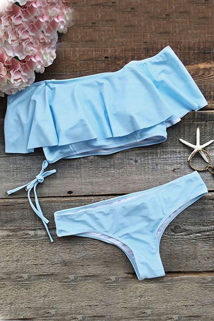 Cupshe Blue Summer Sewing Falbala Halter Bikini Set