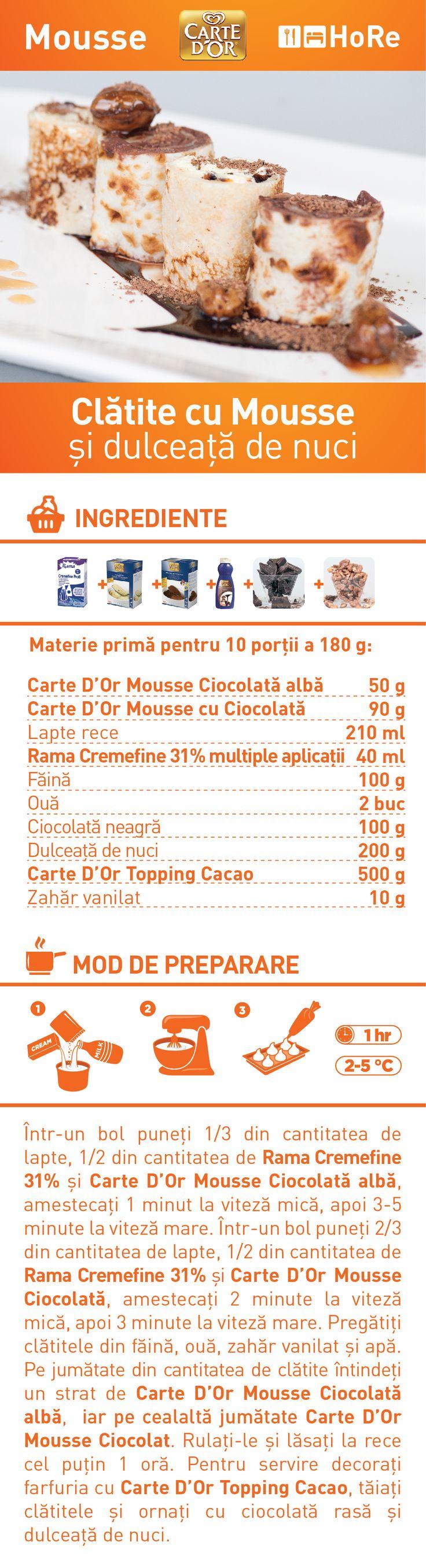 Clatite cu Mousse si dulceata de nuci - RETETA