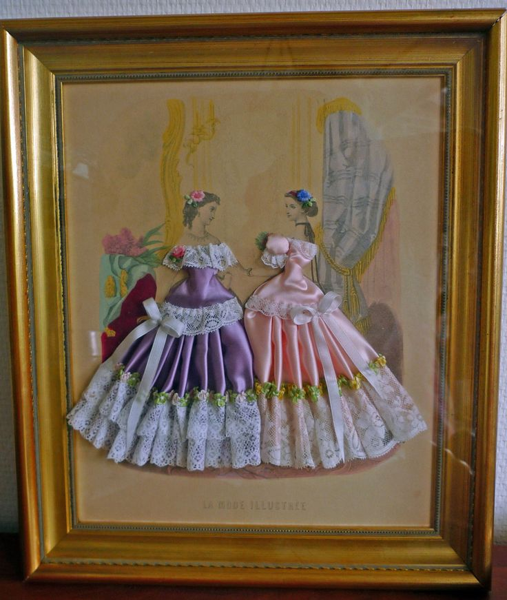 C1866 French La Mode ILLUSTREE Victorian Lady Fashion Print with Fabric | eBay