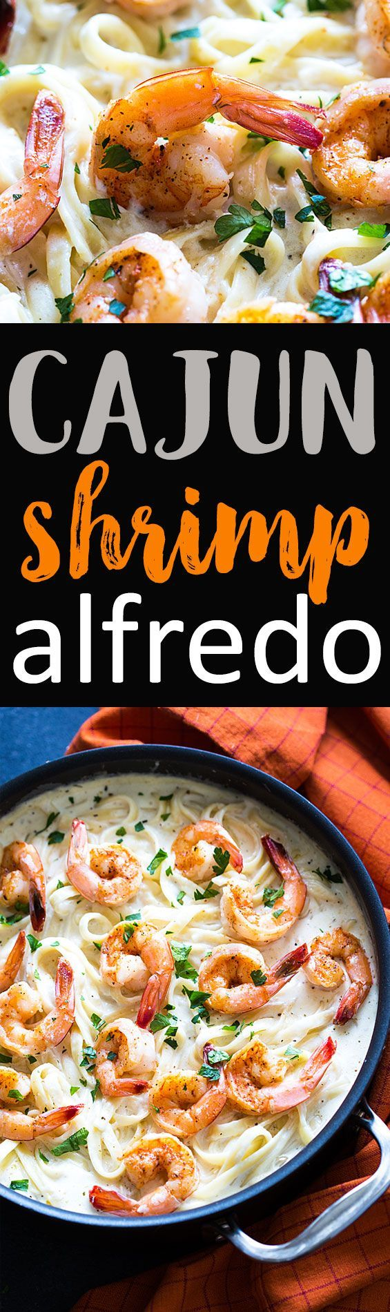 Cajun Shrimp Alfredo - So simple! Cajun shrimp in a bed of pasta with creamy, cheesy alfredo sauce. Just 20 minutes is all it takes!