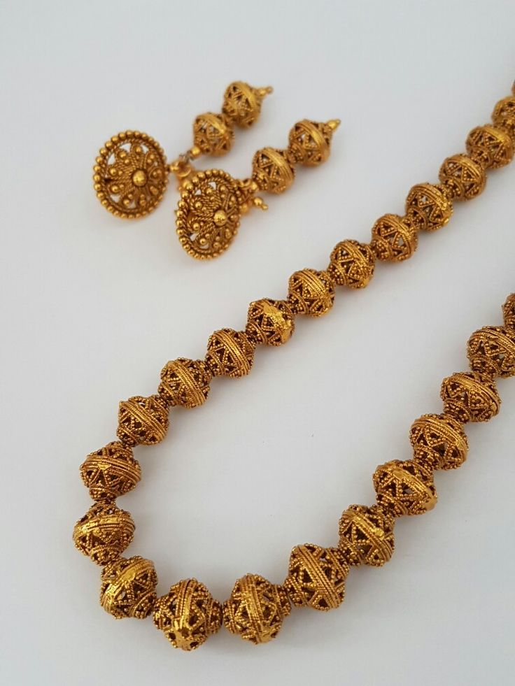 "Beautiful long ball necklace with earrings. Indian jewellery / jewelry. 26"". £25. Email alamsjewellers@gmail.com with enquiries. #jewellery #Indianwedding #indian #asian #wedding #taal #gold #imitation"
