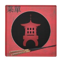 "Mini pagoda chopsticks ""Menu"" Glass Coaster"
