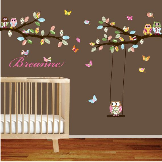 Vinyl wall sticker decal owls birds butterflies branch set with swing custom name decal