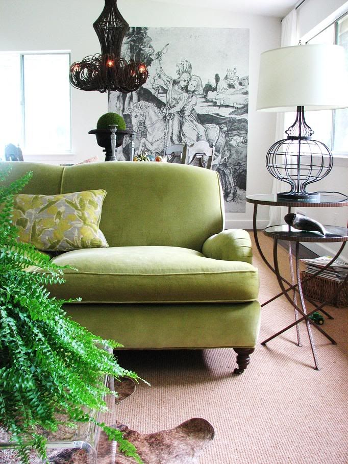 Love This Apple Green Velvet Couch! (Pure Style Home's Lauren Liess Used  This Apple Green Velvet On A Sofa In Her Living Room.