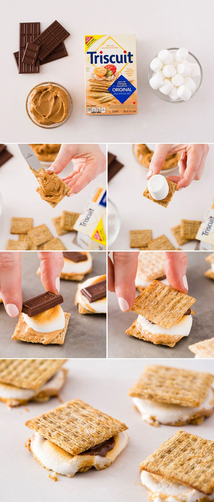 Make yummy Triscuit S'mores using just four ingredients. Brit + Co. #recipe