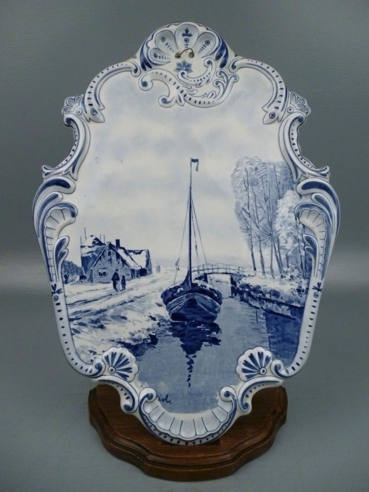 Old Dutch Or German Delft Plaque Canal Boat Antique