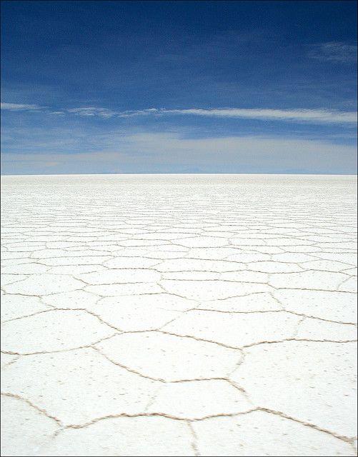 Salt flats in Salar de Uyuni, Bolivia.