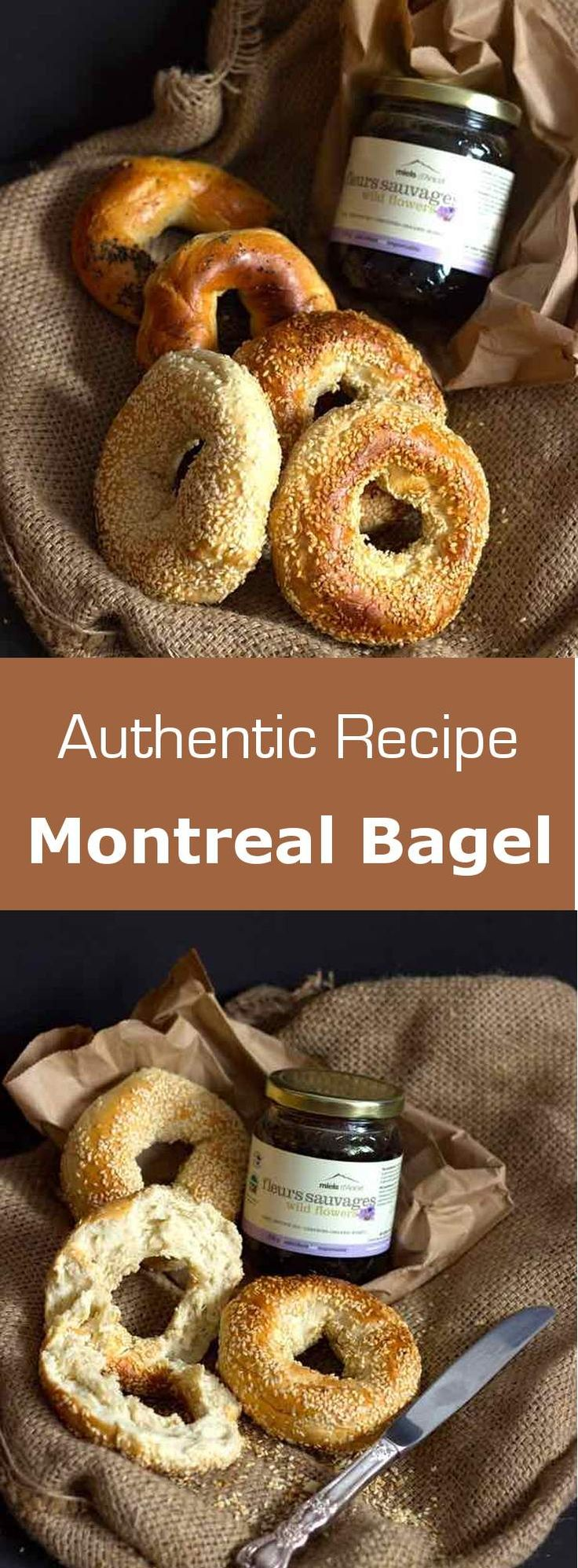 The Montreal bagel is a variant of the New York bagel with a more chewy and dense texture, as well as a more pronounced sweet taste. #Canada #bread #196flavors