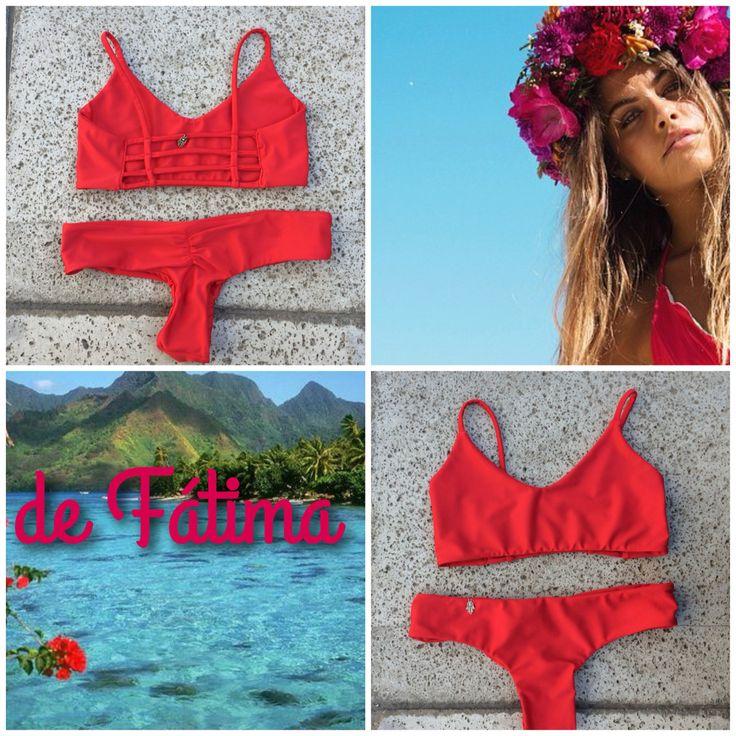 Bikini espalda tiritas Rojo