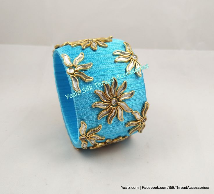 Yaalz Kundan Work Jumbo Kada In Sky Blue Color !! Price Rs.500 Per Pair For Orders Ping Us In WhatsApp +91 8754032250