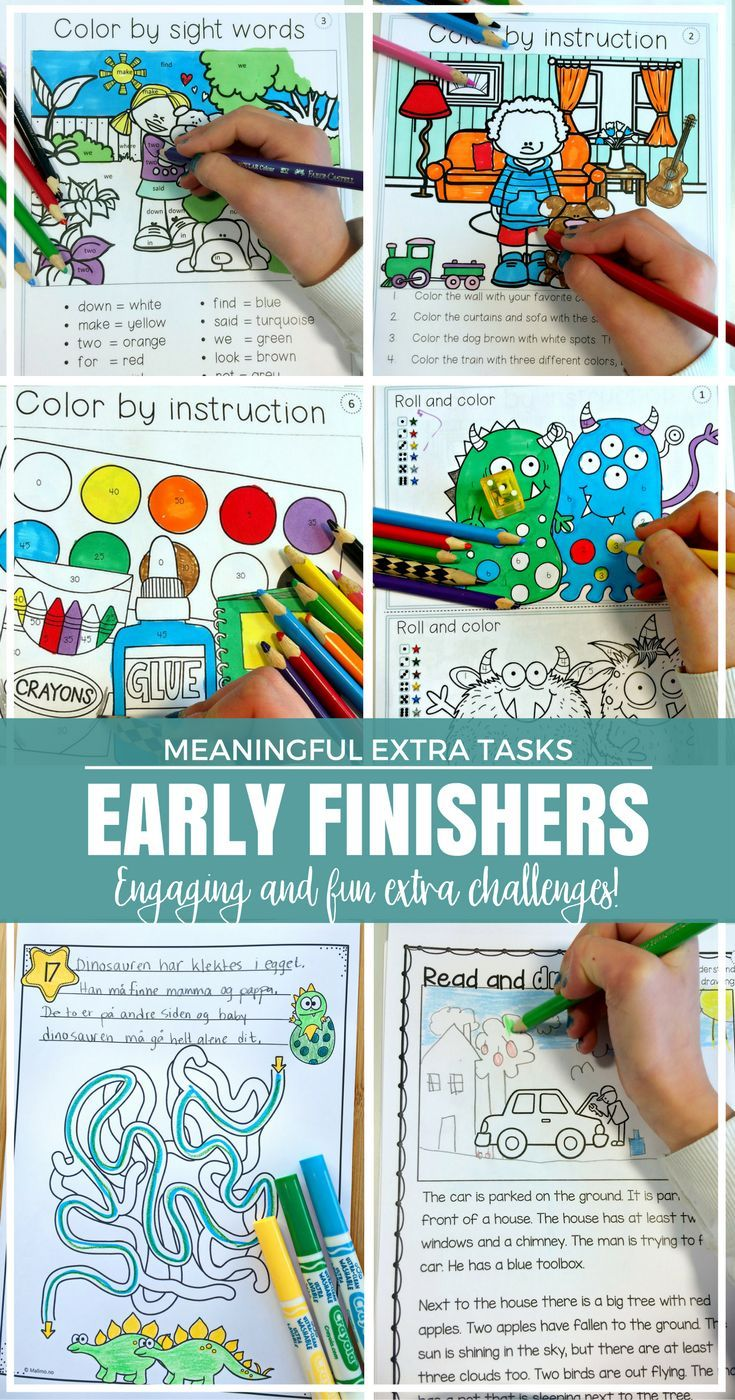 Meaningful and fun tasks for early finishers or fast finishers! Keeping students engaged so everyone can do their work in peace. Find 10 awesome freebie pages in this blog post! Great for your preschool, Kindergarten, 1st, 2nd, and 3rd grade classroom or
