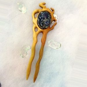 """Night sky"" 2 prong Hair fork by OakForest Woodwork & MarLenGlass (Russia). Handmade. Materials: Wild pear wood, Linseed oill, Decor - lampwork by MarLenGlass. Size: - 14.5x4,5 cm."