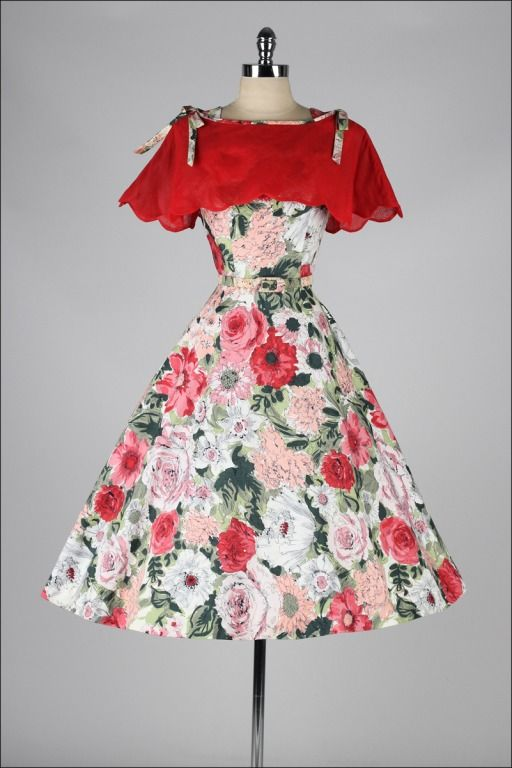Vintage 1950's Rhinestone Floral Dress and Caplet | From a collection of rare vintage evening dresses at http://www.1stdibs.com/fashion/clothing/evening-dresses/