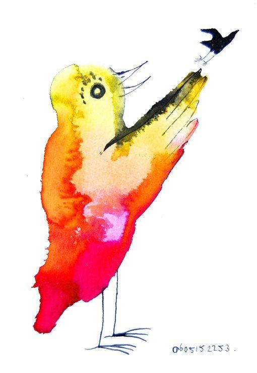 Originele kunst geel roze vogel illustratie vogels door BIRDADAY