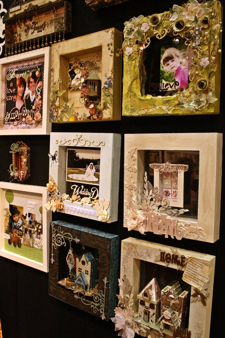 Shadow box frames: use photoframes from the cheap 'n cheerful shop? Maybe, if you turn a blanc canvas around, use the back? Hmmm... Let this simmer a bit...