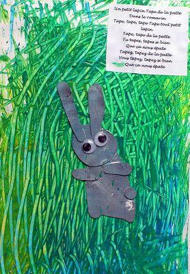 Un petit lapin tape de la patte comptines pinterest mixed media collage tape and mixed - Patte de lapin peinture ...